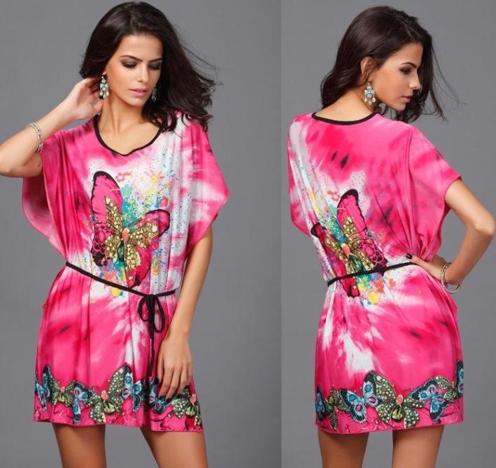 fd21fe87679f Růžové dámské volné šaty