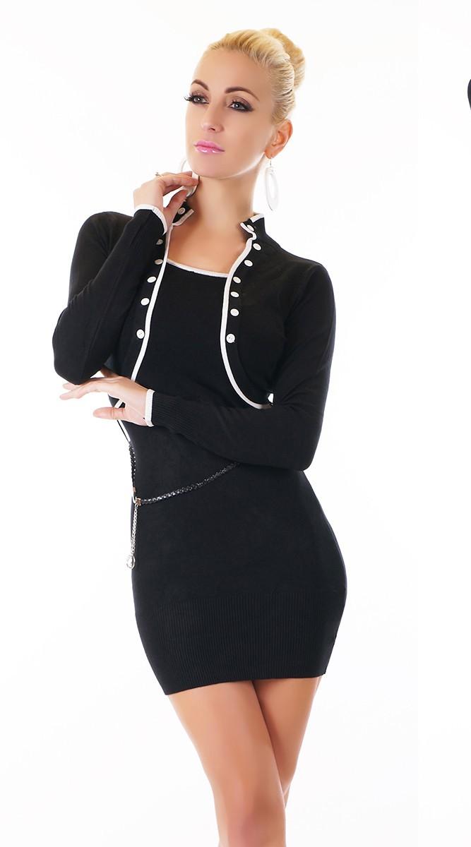 Černé dámské zimní šaty lemované bílou  dda919f8f7