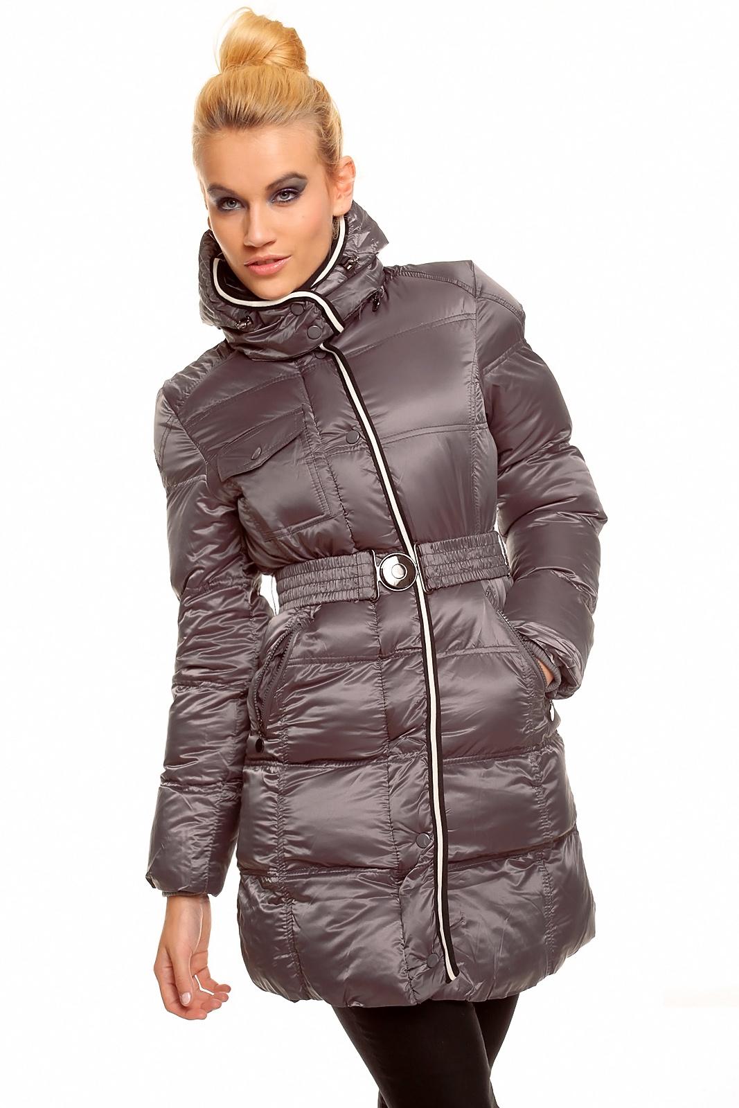 99ef9838e129 Šedá zimní dlouhá dámská bunda s páskem