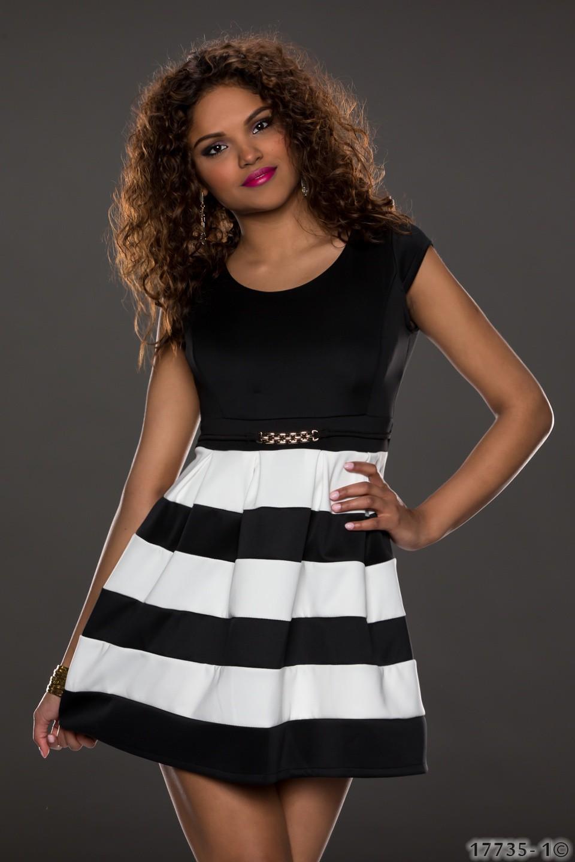 922f4461ebf Černo bílé dámské šaty pruhované