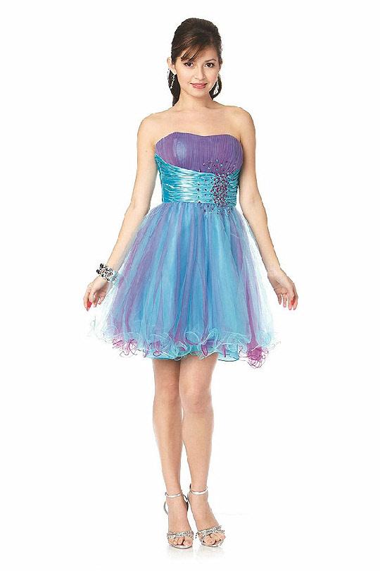 84f255189289 Tyrkysovo fialové koktejlové šaty