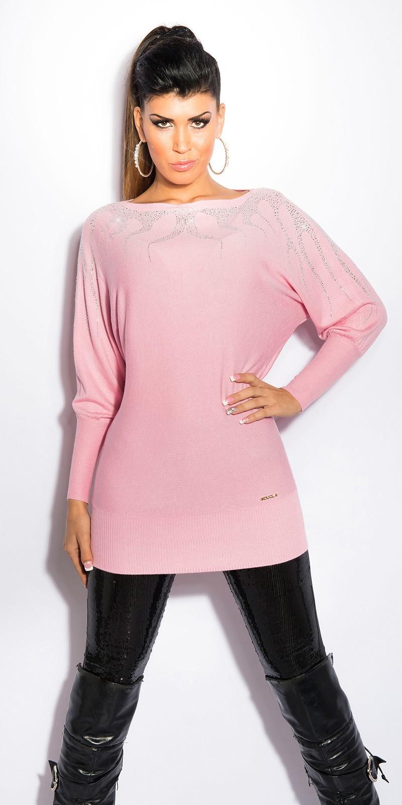 809be3169bb9 Růžové dámské svetrové šaty s kamínky
