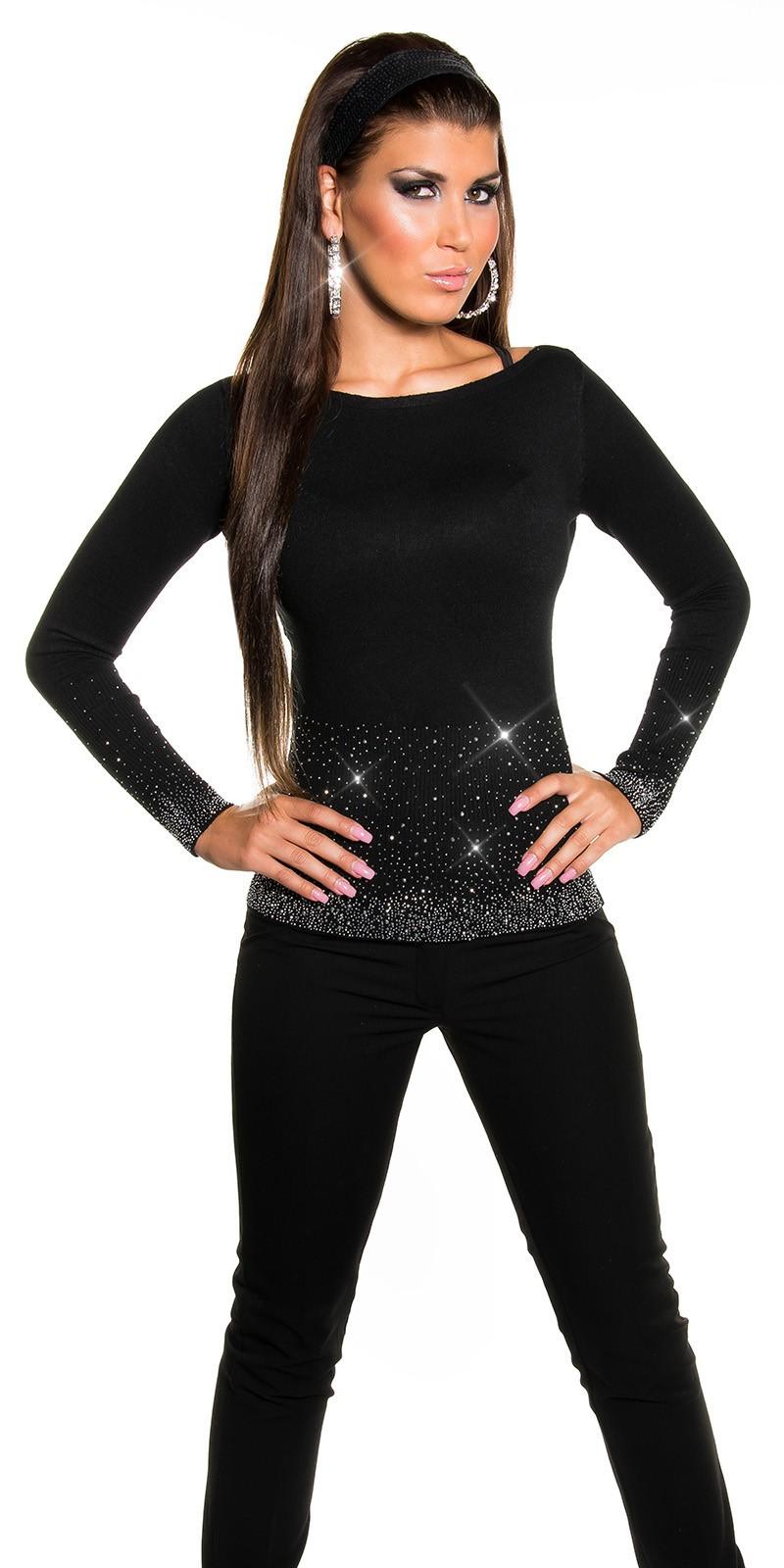 2c69a37db60 Černý dámský pulovr s kamínky