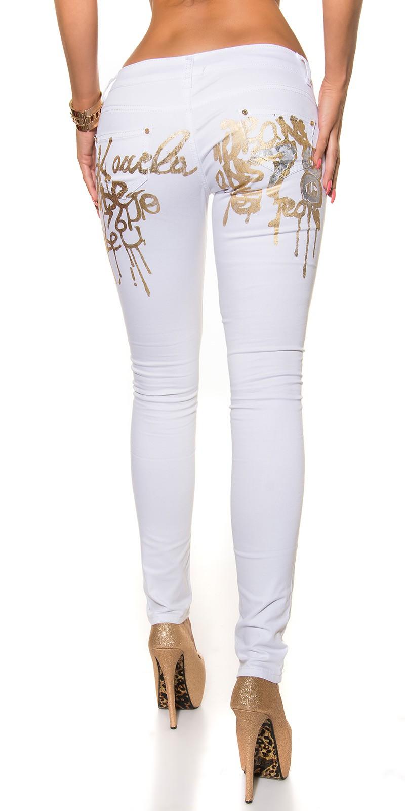 e2efe02148a Bílé dámské kalhoty s nápisem