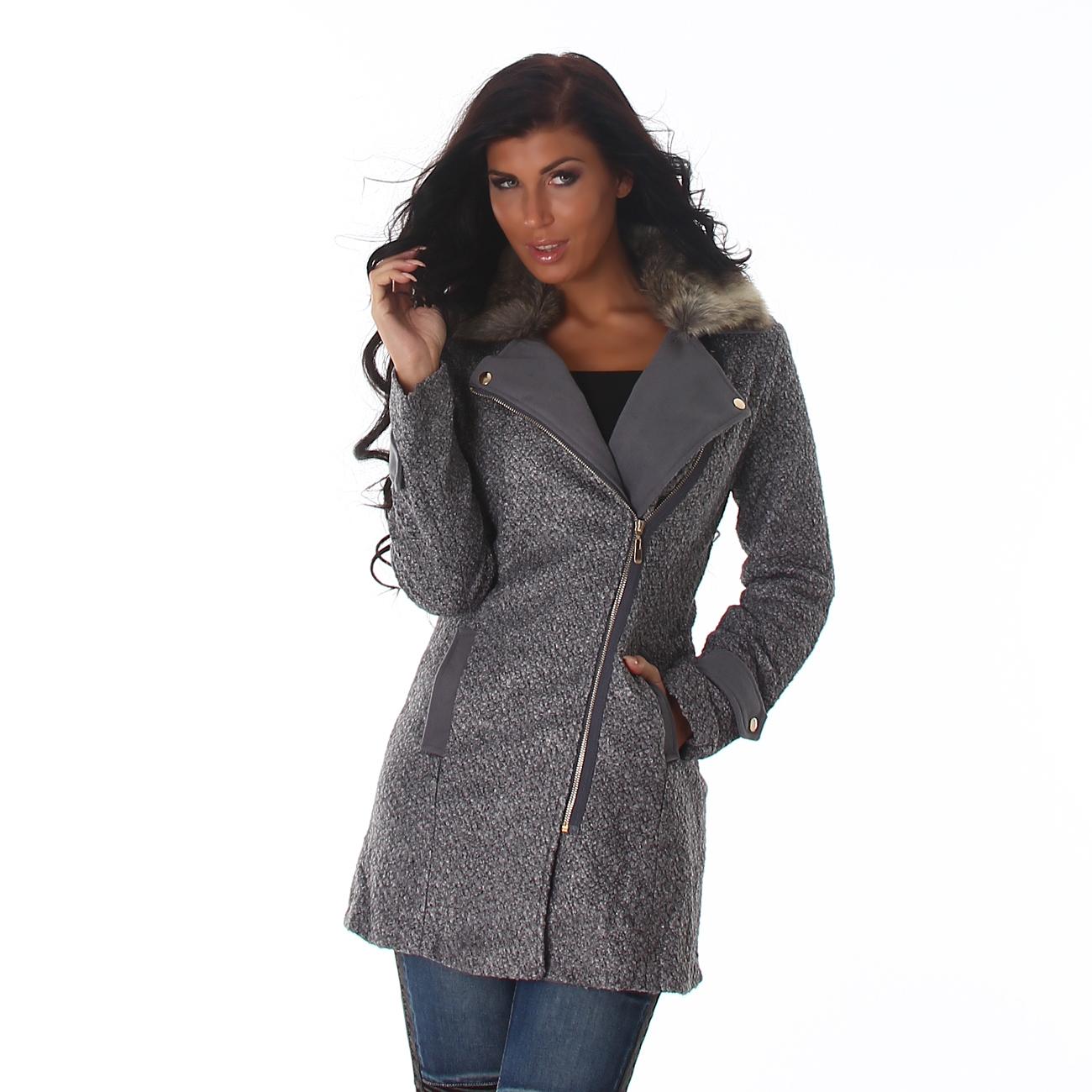 Šedý dámský kabát s kožíškem  b70f85f7e0