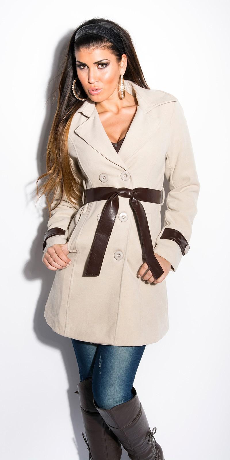 cf50183689 Béžový dámský kabát s páskem