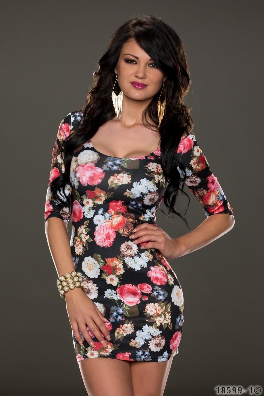 25b512063ffb Černé dámské květinové šaty
