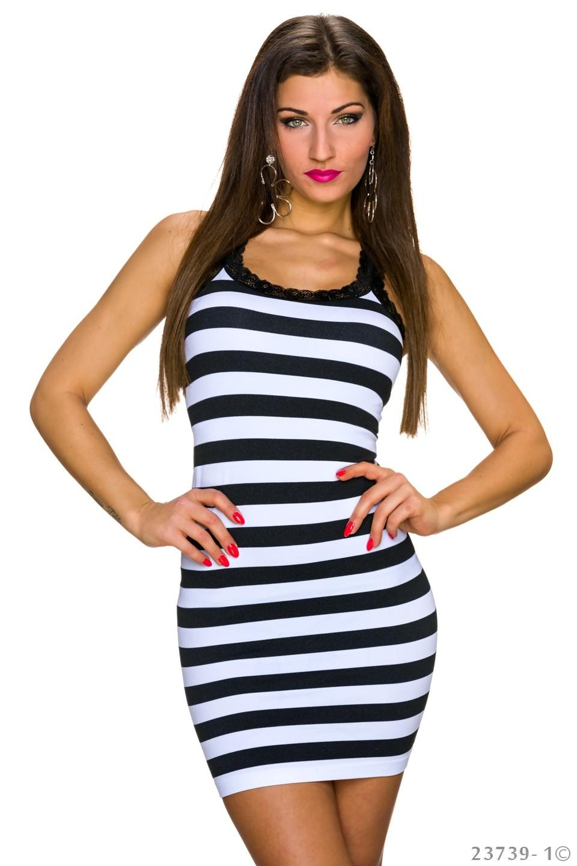 7723b628d00 Černo bílé dámské pruhované šaty