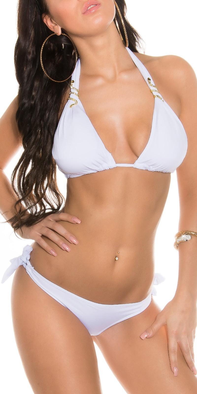 Bílé dámské plavky s ozdobou  4559e33a05