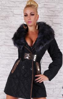 Černá luxusní dámská bunda s kožíškem a páskem