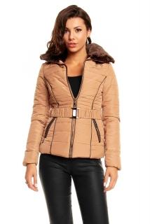 6fc3647ff5f Světle hnědá dámská zimní bunda s kožíškem empty