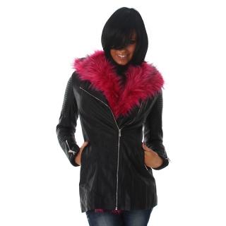 Černý dámský koženkový křivák kabát s růžovým kožíškem empty 1157bee357