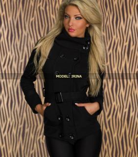 Černý podzimní dámský kabátek