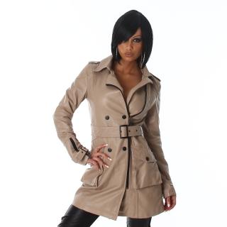 Světle hnědý dámský kabát s lemem 352c30a09c9
